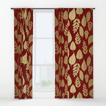 Gold Leaves Pattern Window Curtains by Tanyadraws