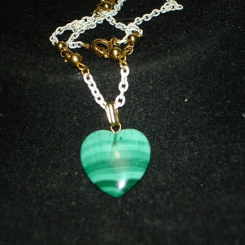Green Malachite Heart Gold Tone and White Necklace