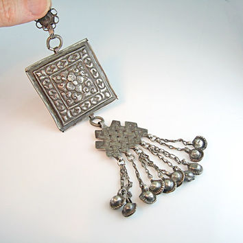 Middle Eastern Jewelry. Large Engraved Pendant. Handmade Silver Tribal Jewelry. Ethnic Afghani. Vintage 1970s Boho. Statement Jewelry.
