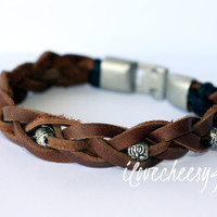 ARDENT~  Mens bracelet, mens leather bracelet, silver clasp bracelet, mens jewelry, brown leather, mens accessories, father brother husband