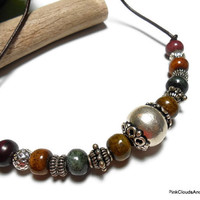 Mens Unisex Jewelry Necklace Bracelet Bone Wood Sterling Silver Leather Earthy Native Tribal Adjustable Handmade Cord Adjuster One of a Kind