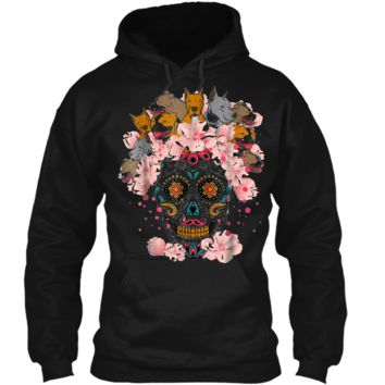 Sugar Skull Pitbulls Dog  Day Of The Dead Pullover Hoodie 8 oz