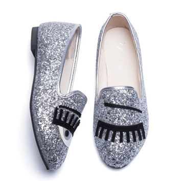 Oxford Casual Shoes Woman Female Loafers Eyes Sequins