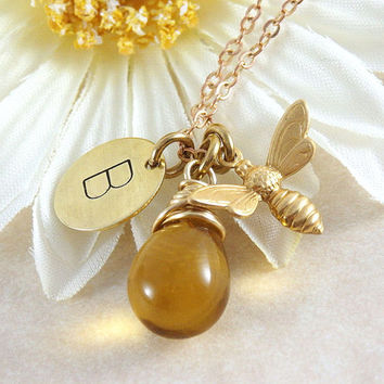 Bee Necklace - Initial Necklace - Honey Drop Necklace - Brass Honey Bee - Personalized Jewelry - Wire Wrapped - Bee Jewelry - Hand Stamped