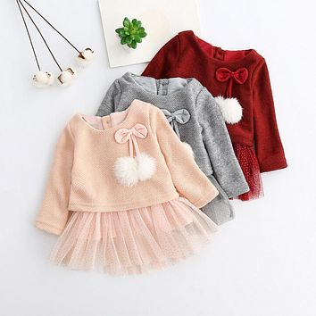 ISHOWTIENDA Newborn Baby Girls clothing set winter Knitted Bow cotton Tutu party Princess Dress costume for kids dresses outfit