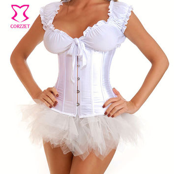 Bridal Wedding Sexy White Waist Trainer Corsets Plus Size Corset Underbust Waist Cincher Korsett For Women Body Shaper Lingerie