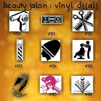 BEAUTY SALON vinyl decals - 100-108 - custom car window stickers - hairdresser vinyl decals - car decal - car sticker - beauty shop - spa