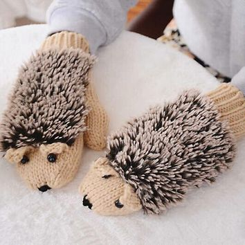 Hot sell 7 colors Fashion Winter Warm gloves in a Foreign Girl's Hedgehog Cartoon Cotton Gloves