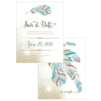 Feather Whimsy Save The Date Card Sea Blue (Pack of 1)