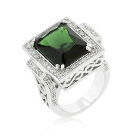 Emerald Green Classic Cocktail Ring, size : 05