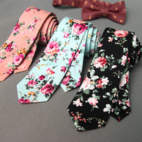 Brand Wedding Cotton Floral Ties For Men S