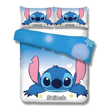 Cool 3pcs stitch print duvet cover queen size cartoon bedding set kids adult bedroom decor brief blue bedcover twin full king giftAT_93_12