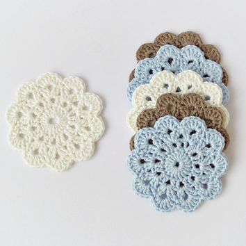 Soft cotton crochet coasters, set of 6 flower coasters in natural colors, brown light blue eco friendly drink coasters, wedding gift