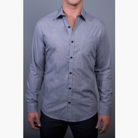 {Modern English} Chambray Dress Shirt in Bleu Noir