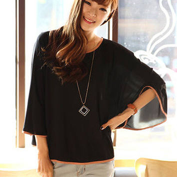 Black Bell Sleeve Casual Blouse