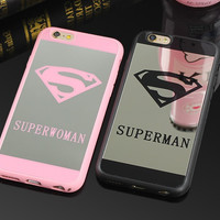 Luxury Superman Superwoman Silicone Mirror Surface TPU Case For iPhone 7 6s 6 7 Plus 5 5s Chrome Back Cover Cases Coque Fundas