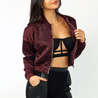 Quilted-Cropped-Bomber-Jacket BLACK BURGUNDY OLIVE - GoJane.com