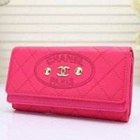 THE CHANEL Women Leather Purse Buckle Wallet 24-10-14 CM H-MYJSY-BB