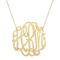 Cutout Gold Monogram Necklace by Moon & Lola - {Sterling Silver,...