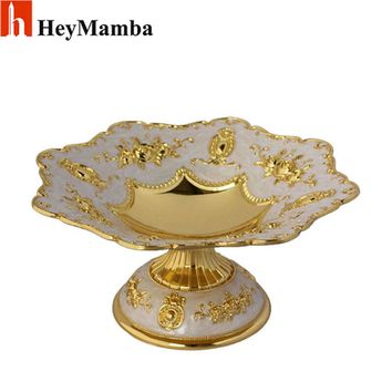Luxury Gold Plated Dried Fruit Plate Serving Tray Metal Sliver Fruit Dish Snack Dish For Home Bar Decoration H/8.5cm