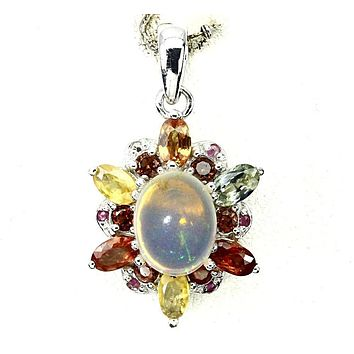 A 14K White Gold 1.5CT Cabochon Ethiopian Opal Sapphire Ruby Garnet Citrine Accent Pendant Necklace