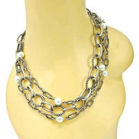 Three Strand Necklace Pearl and Chunky Antiqued Silver Tone Links