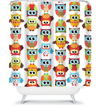 OWL Shower Curtain Monogram Boy Girl Kid Child Colorful Cute Whimsical Bathroom Bath Polyester Made in the USA