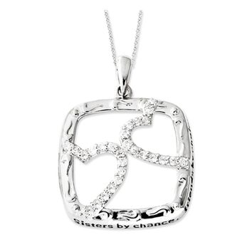 Rhodium Plated Sterling Silver & CZ Sisters By Chance Necklace, 18 In.