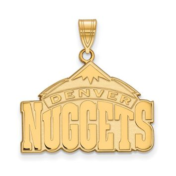 NBA Denver Nuggets Large Logo Pendant in 10k Yellow Gold