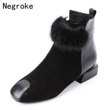 New Designer Women Ankle Boots Female Faux Suede Fur Leather Boots 2018 Fashion Warm Plush Winter Shoes Botas Mujer Plus size 42