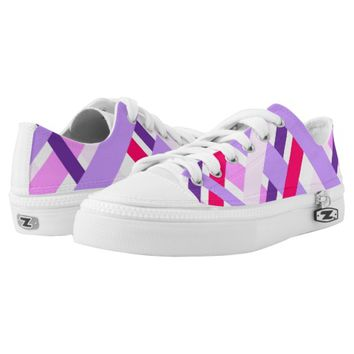 Gingham Geometric Plaid Girly Pink Purple White Printed Shoes