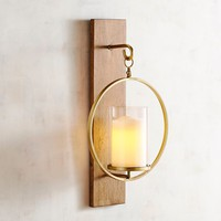 Wooden Plank Candle Holder Wall Sconce