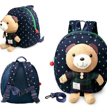 Toddler Backpack class New 3D Cartoon Bear Bag Baby Toddler Anti lost Leash Harness Strap Walker Kids Lunch Box child Kindergarten Schoolbag Backpack AT_50_3