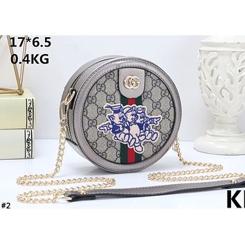 GUCCI tide brand female embroidery three small pig chain shoulder slung female bag round cake bag #2