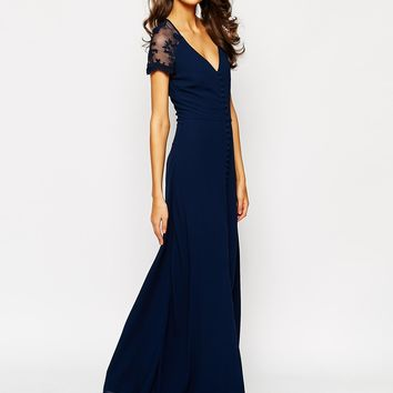 Jarlo Tall Lucia V Neck Button Down Maxi Dress With Split