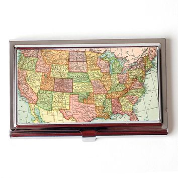 Vintage US Map Business Card Case - American Wall Map Business Card Holder - Retro Atlas Business Card Case