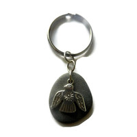 Thunderbird Charm Key Chain with Grey Beach Stone, Fathers Day Gift