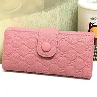 Perfect  Gucci Women Leather Solid Purse Wallet