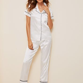 Contrast Binding Button-up Satin Pajama Set