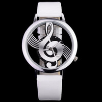 Round Disc Hollow Musci Notes Watch Women's Watches Novelty Men's Mucical Note Dial Wristwatch Quartz Watches #sclm wish store# = 1956598404