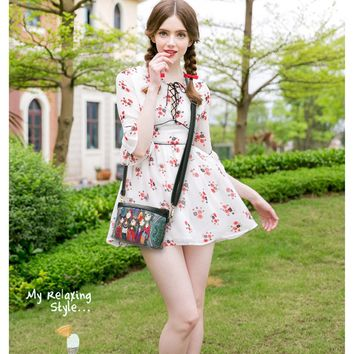 Mini Cartoon Print Crossbody Bag