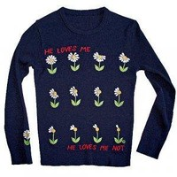 """Loves Me... Loves Me Not"" Fitted Thin Tacky Ugly Sweater Women's Size Medium (M)"