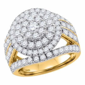 14kt Yellow Gold Womens Round Diamond Flower Cluster Bridal Wedding Engagement Ring 3.00 Cttw