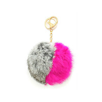 Grey, Pink & Gold Two Tone Rabbit Fur Pom Pom Key Chain / Bag Charm Keychain, gift