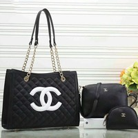 Chanel New Fashion Women Leather Handbag Tote Shoulder Bag Clutch Bag Cosmetic Bag Set Three-Piece(7-Color) Black I-a-BBPFCJ