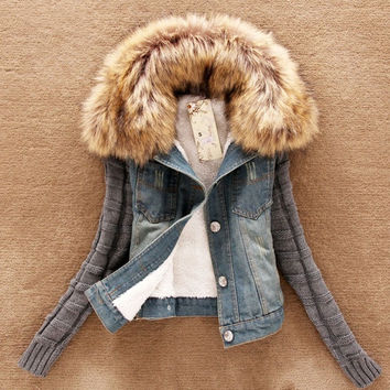woman winter coat with fur collar cotton long sleeve  denim jacket = 1930099268