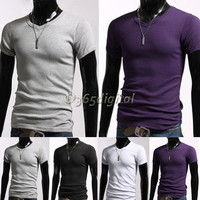 Stylish Men's Jacket Fit Casual short V-Neck Shirt Slim Sleeve Hot T-Shirt 35DI