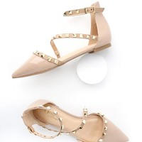 Trinity Nude Patent Studded Pointed Toe Flats