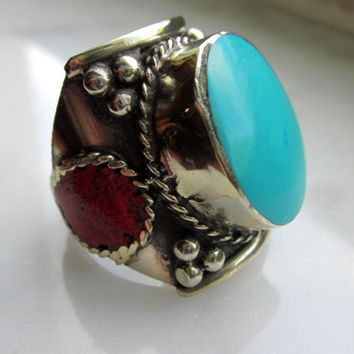 Sterling silver stamped 925 coral chip faux turquoise mens ring Southwestern style ring Native American style jewelry CLEARANCE on rings
