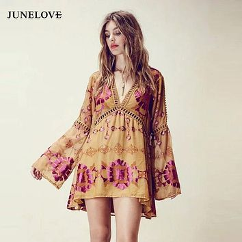 JuneLove - Boho Hippie Kimono Dress With Floral Tye Dye: Pink and Yellow
